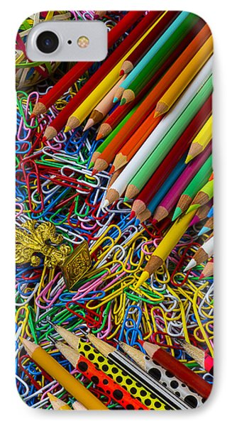 Pencils And Paperclips IPhone Case by Garry Gay