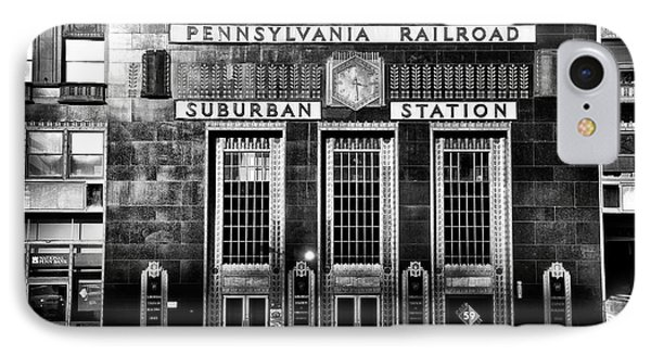 Pennsylvania Railroad Suburban Station In Black And White IPhone Case by Bill Cannon