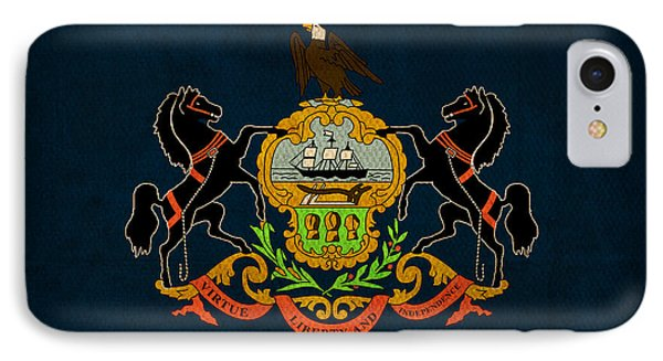 Pennsylvania State Flag Art On Worn Canvas IPhone Case