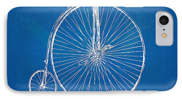 Penny-farthing 1867 High Wheeler Bicycle Blueprint IPhone Case by Nikki Marie Smith
