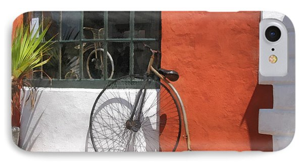 Penny-farthing In Front Of Bike Shop Phone Case by Susan Savad