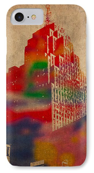 Penobscot Building Iconic Buildings Of Detroit Watercolor On Worn Canvas Series Number 5 IPhone Case