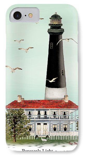 Pensacola Light House IPhone Case by Anne Beverley-Stamps