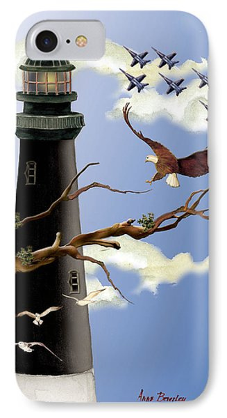 Pensacola Light House Tower IPhone Case by Anne Beverley-Stamps