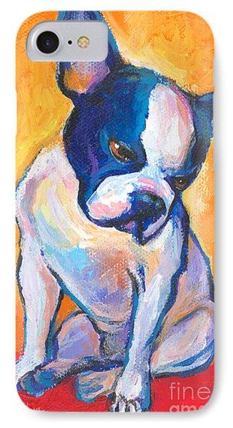 Pensive Boston Terrier Dog  IPhone Case by Svetlana Novikova