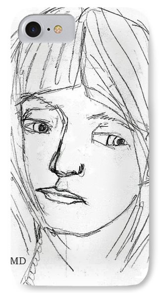Pensive Girl IPhone Case by Michael Dohnalek