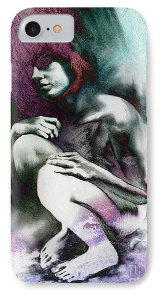 IPhone Case featuring the drawing Pensive With Texture by Paul Davenport