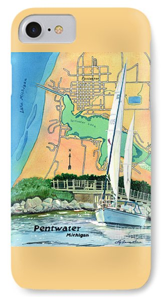 Pentwater Treasure Map IPhone Case by LeAnne Sowa