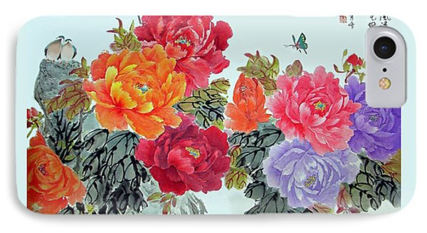 Peonies And Birds IPhone Case by Yufeng Wang