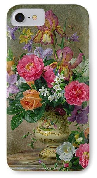 Peonies And Irises In A Ceramic Vase IPhone Case by Albert Williams