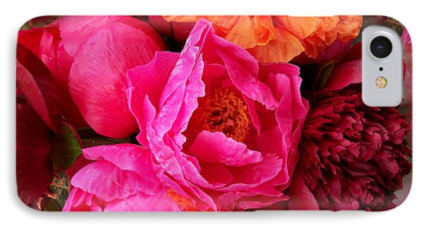 Peonies And Poppies Vibrant Bouquet IPhone Case