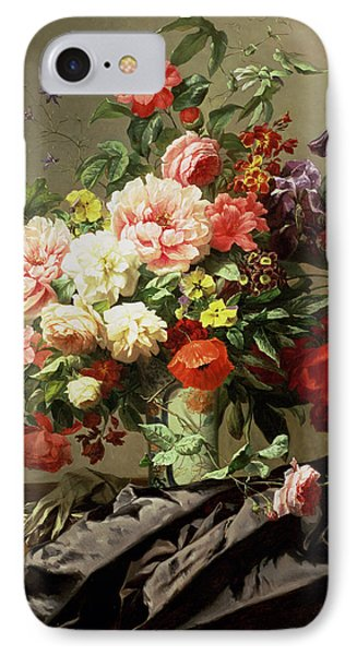 Peonies, Poppies And Roses, 1849 IPhone Case by Henri Robbe