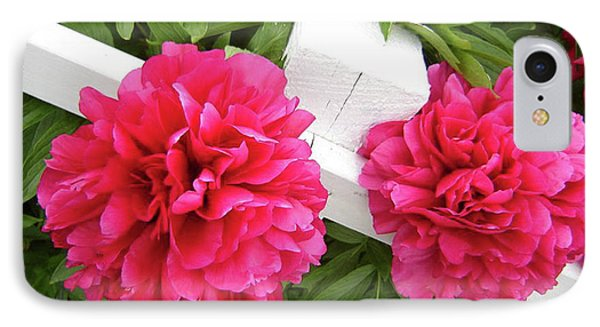 IPhone Case featuring the photograph Peonies Resting On White Fence by Barbara Griffin