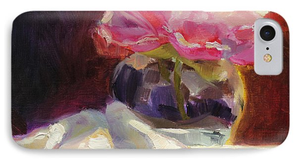 Peony Glow - Square Still Life Phone Case by Karen Whitworth