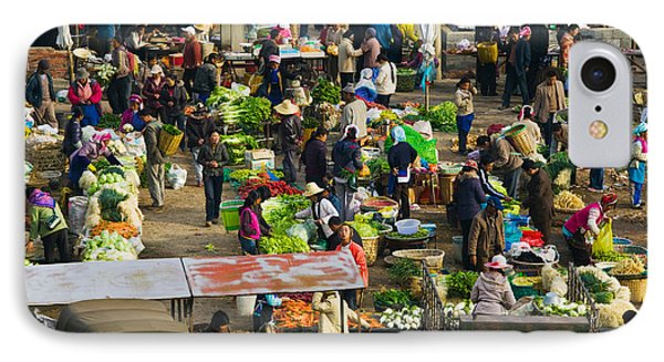 People At A Traditional Town Market IPhone Case by Panoramic Images