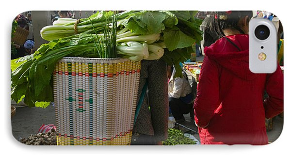 People At A Vegetable Market, Xizhou IPhone Case by Panoramic Images