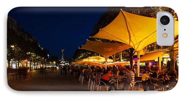 People At Sidewalk Cafes In A City IPhone Case by Panoramic Images