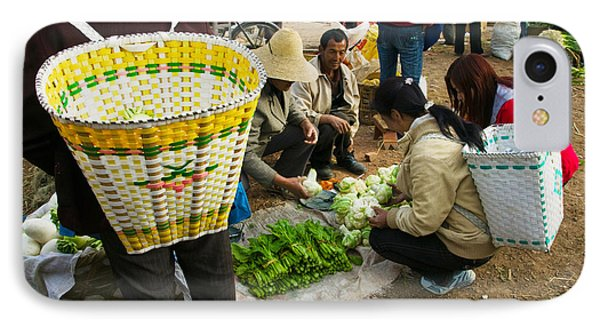 People Buying Vegetables IPhone Case by Panoramic Images