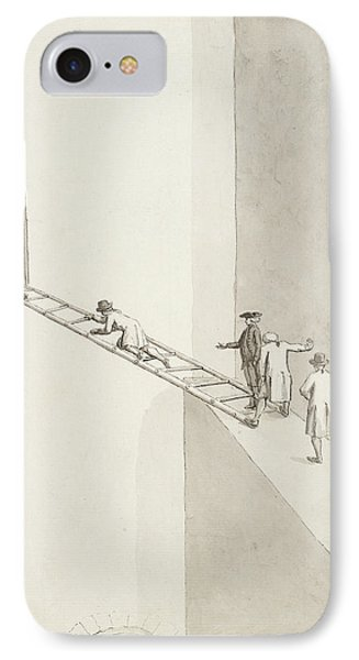 People Climbing Across A Gap IPhone Case by British Library