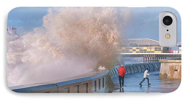 People Dodging Storm Waves IPhone Case by Ashley Cooper