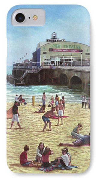 people on Bournemouth beach Pier theatre IPhone Case