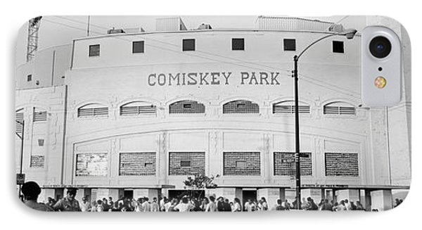 People Outside A Baseball Park, Old IPhone Case by Panoramic Images