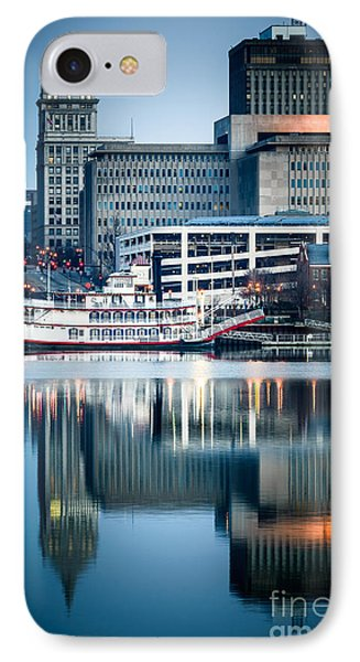 Peoria Illinois Cityscape And Riverboat Phone Case by Paul Velgos