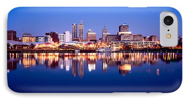 Peoria Illinois Skyline At Night Phone Case by Paul Velgos