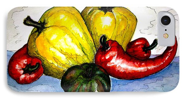 IPhone Case featuring the painting Pepper Diversity by Rae Chichilnitsky
