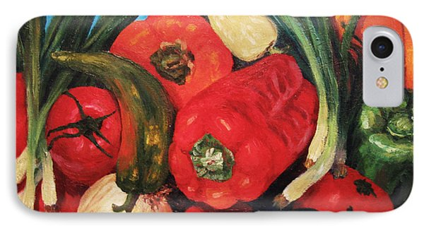 IPhone Case featuring the painting Peppers by Cheryl Del Toro