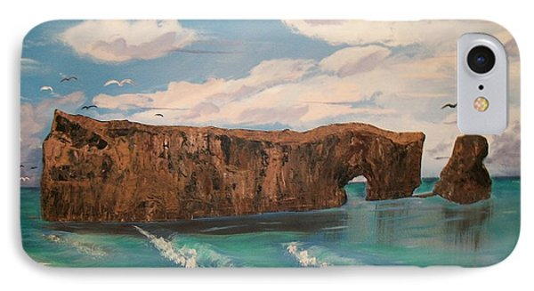 IPhone Case featuring the painting Perce Rock by Sharon Duguay