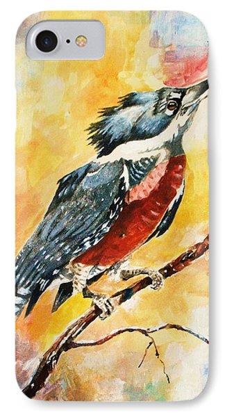 IPhone Case featuring the painting Perched Kingfisher by Al Brown