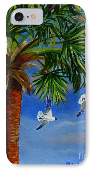 IPhone Case featuring the painting Perfect Flight  Palm Tree And Seagulls by Shelia Kempf