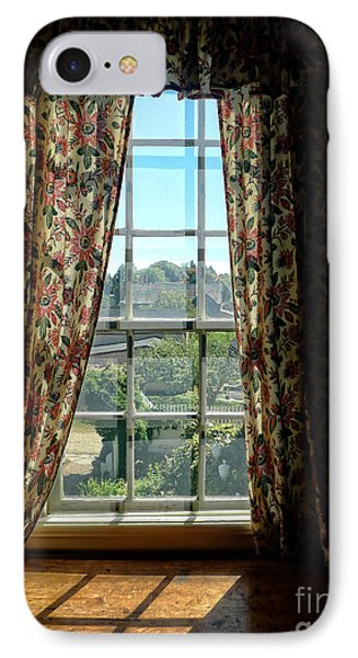 Period Window With Floral Curtains IPhone Case by Edward Fielding