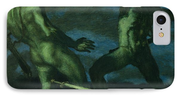 Perseus Turns Phineus To Stone By Brandishing The Head Of Medusa IPhone Case by Franz von Stuck