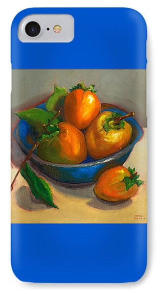 IPhone Case featuring the painting Persimmons In Blue Bowl by Susan Thomas