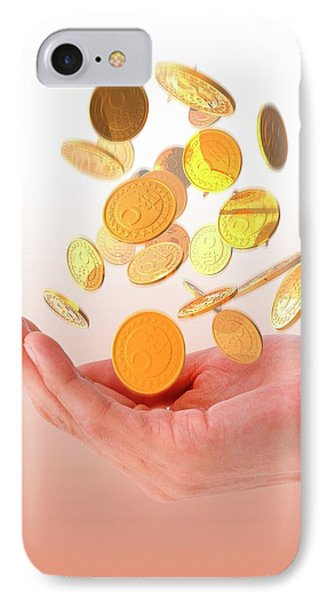 Person Catching Bitcoins IPhone Case by Victor Habbick Visions