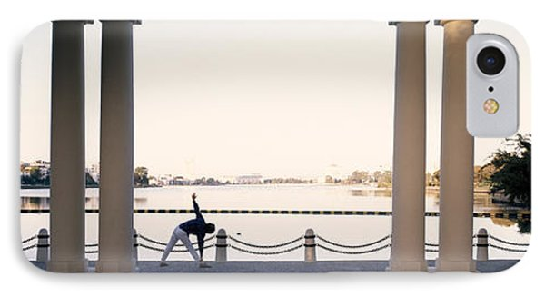 Person Stretching Near Colonnade, Lake IPhone Case by Panoramic Images