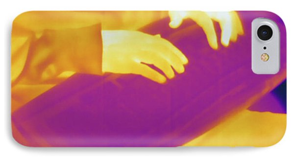 Person Typing, Thermogram IPhone Case by Science Stock Photography
