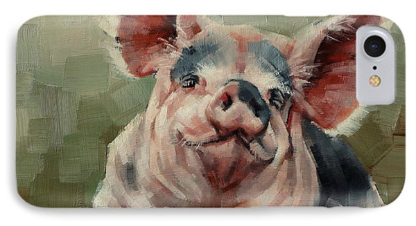 Personality Pig IPhone Case by Margaret Stockdale