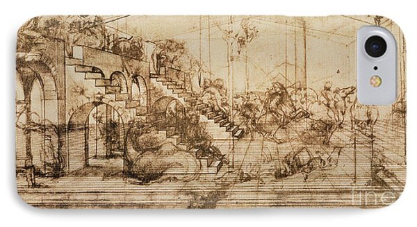Perspective Study For The Background Of The Adoration Of The Magi IPhone Case by Leonardo da Vinci
