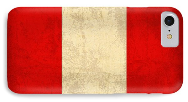 Peru Flag Vintage Distressed Finish IPhone Case by Design Turnpike