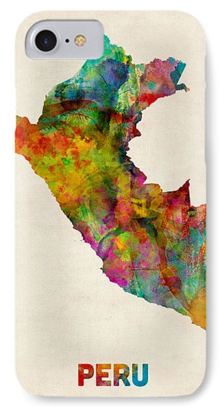 Peru Watercolor Map IPhone Case by Michael Tompsett