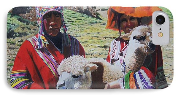 IPhone Case featuring the mixed media Peruvians by Constance Drescher