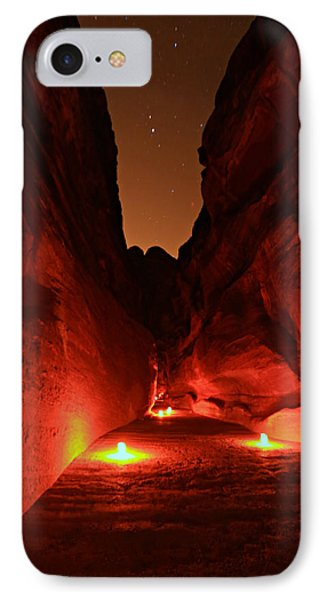 Petra Night Walk IPhone Case by Stephen Stookey