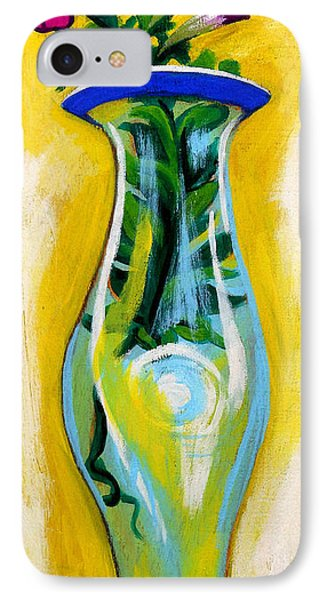 Petunia In Vase With Yellow Background Phone Case by Genevieve Esson