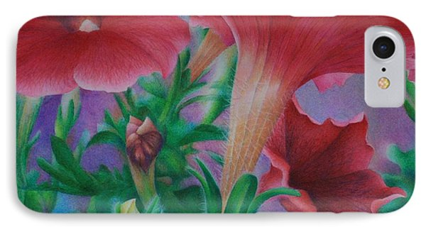 IPhone Case featuring the painting Petunia Skies by Pamela Clements