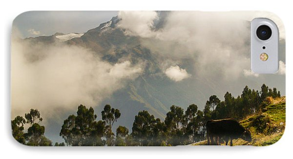 Peru Mountains With Cow IPhone Case by Allen Sheffield
