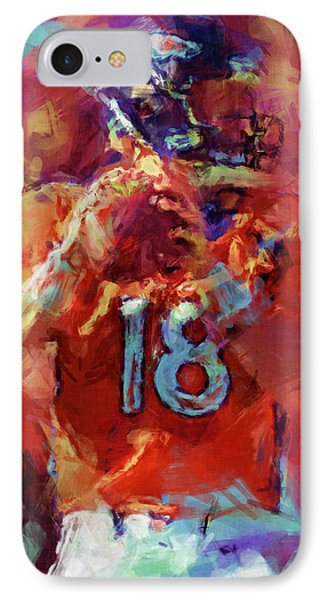 Peyton Manning Abstract 3 Phone Case by David G Paul