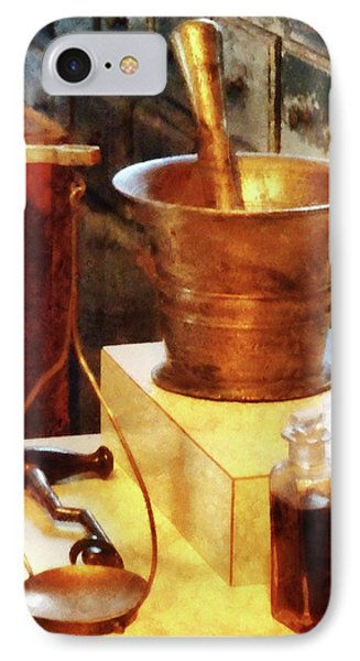 IPhone Case featuring the photograph Pharmacist - Brass Mortar And Pestle by Susan Savad